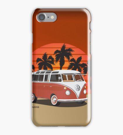 Hippie 21 Window VW Bus Red Surfboard on the Beach iPhone Case/Skin