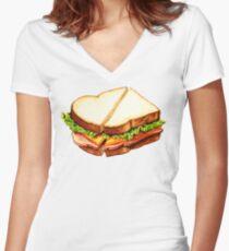 Ham Sandwich Pattern Women's Fitted V-Neck T-Shirt