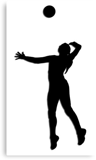 """""""Volleyball Jump Serve Silhouette"""" Canvas Prints by ..."""