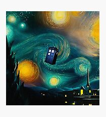 Starry Night Tardis Art Painting Photographic Print