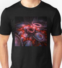 Blue Abstract Fractal Circle Unisex T-Shirt
