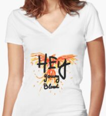 "Phoenix- Fall Out Boy ""Hey Young Blood"" Design  Women's Fitted V-Neck T-Shirt"