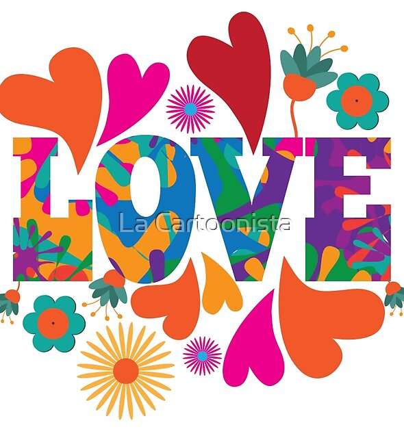 Sixties style mod pop art psychedelic colorful Love text design. by Michele Paccione