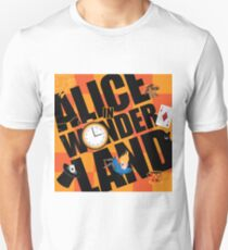 Alice in Wonderland Title with playing cards, pocket watch, hat, key,magic mushrooms T-Shirt
