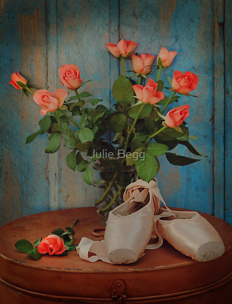 Roses And Pointe Shoes by Julie Begg