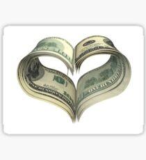 Valentine heart shape made by dollars Sticker