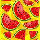 Watermelon and Pineapple Juicy Pattern by BluedarkArt