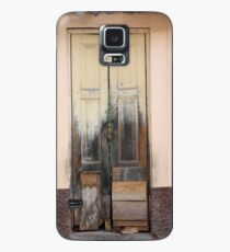 Weathered Yellow Wood Door Case/Skin for Samsung Galaxy