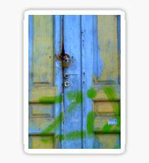 Greek blue door Sticker