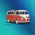 21 Window VW Bus Samba Bus Red White w Blue Backgr by Frank Schuster