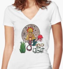 Hold the Light: Magical Mermaid Original Watercolor Illustration Women's Fitted V-Neck T-Shirt