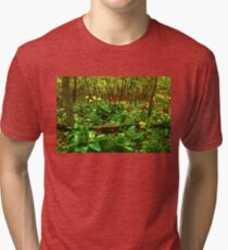 Green, Yellow and Red - Tulip Forest Impressions  Tri-blend T-Shirt