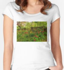 Dreamy Forest With Tulips - Impressions Of Spring Women's Fitted Scoop T-Shirt