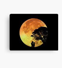 Couple Love Romance Lovers Moonlight Romantic Canvas Print