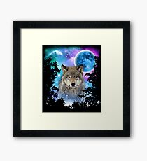 Timber Wolf MidNight Forest Framed Print
