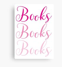 Books Books Books  in pink Canvas Print