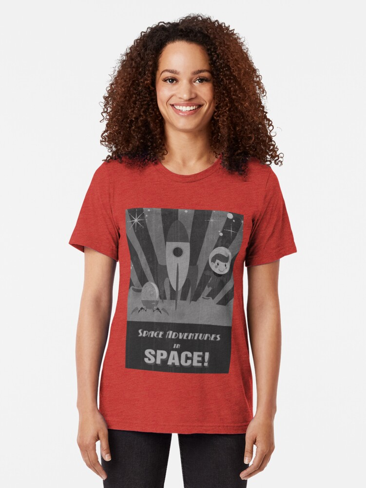 Alternate view of Space adventures, In Space!  Tri-blend T-Shirt