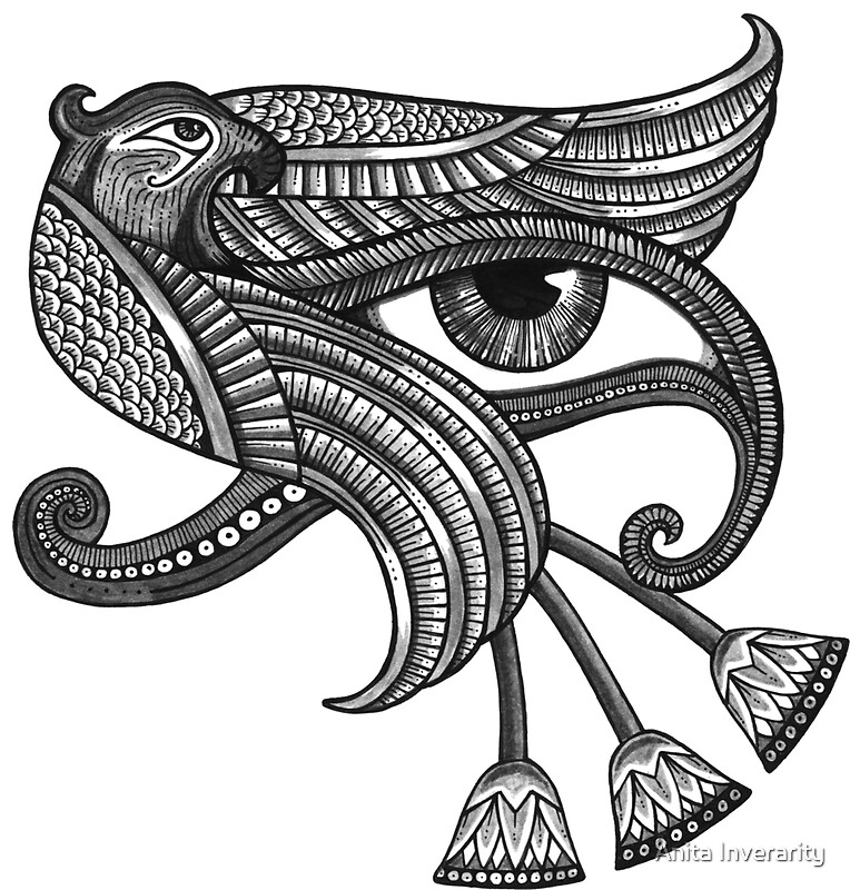 Eye of horus tattoo style print by anita inverarity