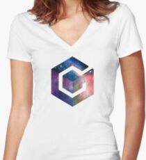 Galaxy GameCube Logo Women's Fitted V-Neck T-Shirt