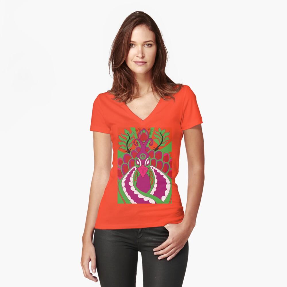 Psychedelisch Tailliertes T-Shirt mit V-Ausschnitt