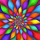 Rainbow Spiral Petals Flower by Kitty Bitty