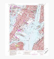 USGS TOPO Map New Jersey NJ Jersey City 254504 1967 24000 Photographic Print