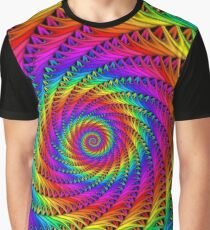 Psychedelic Rainbow Fractal Spiral Graphic T-Shirt