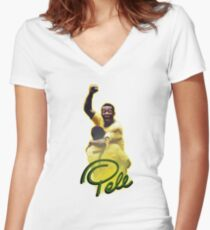 Pele World Cup Brazil Women's Fitted V-Neck T-Shirt