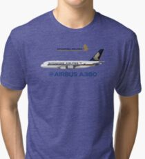 Camiseta de tejido mixto Illustration of Singapore Airlines Airbus A380 - Blue Version