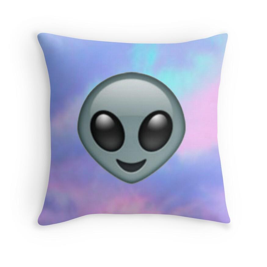 Throw Pillows Elegant : Alien Emoji: Throw Pillows Redbubble