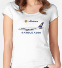 Illustration of Lufthansa Airbus A380  Women's Fitted Scoop T-Shirt