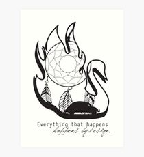 Swanfire - With Quote (Neal & Emma, Once Upon a Time) Art Print