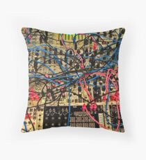 Synthesizer Control Panel Cable Maze Throw Pillow