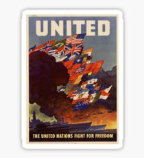 USA Poster: United Nation Fight for Freedom Sticker
