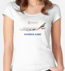 Illustration of Emirates Airbus A380 - White Version Women's Fitted Scoop T-Shirt