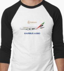 Illustration of Emirates Airbus A380 - White Version Men's Baseball ¾ T-Shirt