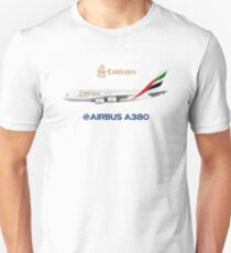 Illustration of Emirates Airbus A380 - White Version Unisex T-Shirt