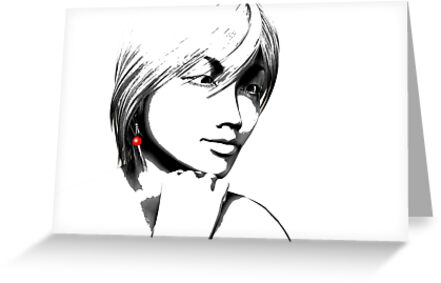 Woman with one red earring by Carol and Mike Werner