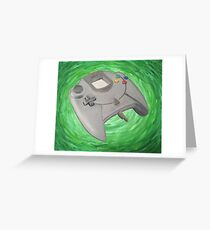 Green Impressionist Dreamcast Controller Greeting Card