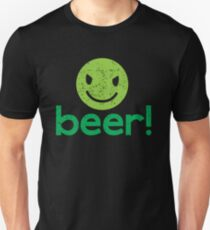 Beer! with cute evil smiley face Unisex T-Shirt