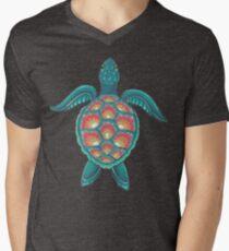 Camiseta para hombre de cuello en v Tortuga Mandala