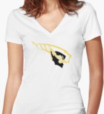 Warframe Nyx Prime gold Women's Fitted V-Neck T-Shirt