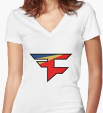 Official Faze Clan Logo Women's Fitted V-Neck T-Shirt
