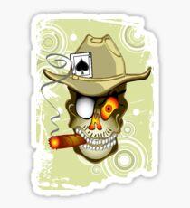 The Gambler. Poker Playing Cigar Smoking Skull Sticker