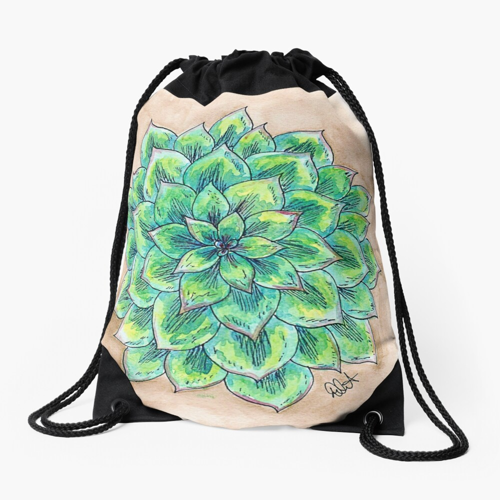 The Single Succulent Drawstring Bag