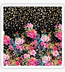 Modern watercolor spring floral and gold dots pattern Sticker