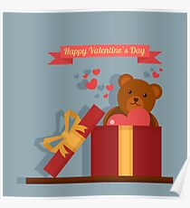 Happy Valentine's Day Greeting Cards. Air Baloon, Present with Love, Cupcake and Whale Poster