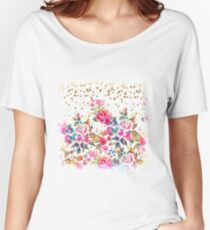 Modern watercolor spring floral and gold dots pattern Women's Relaxed Fit T-Shirt