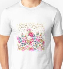 Modern watercolor spring floral and gold dots pattern Unisex T-Shirt