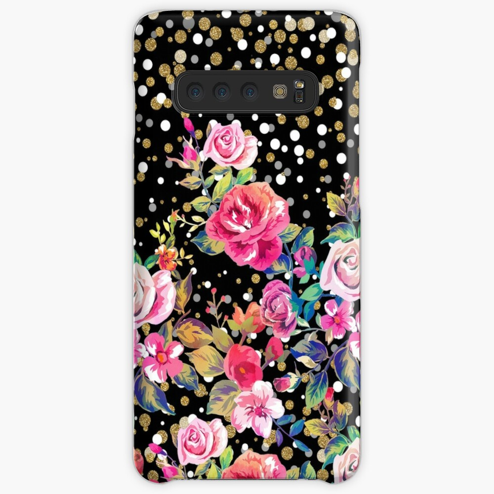 Modern watercolor spring floral and gold dots pattern Case & Skin for Samsung Galaxy